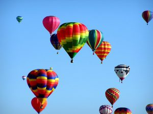 colorful hot air ballons